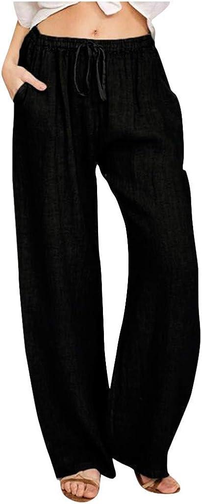 U/D Women's Cotton Linen Long Pants Solid High Waist Elastic Drawstring Wide Leg Casual Trousers with Pockets