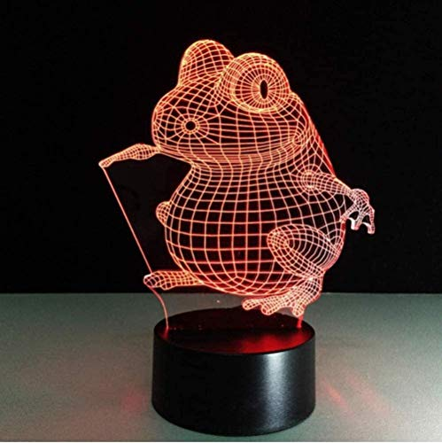 Touch Desk Lamp Gifts USB Touch Button 7 Cambio de color Led Frog Night Lights 3D Table Lamp Colorful Gradient Animal As Home Decoration-Touch screen