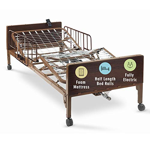 """Full Electric Hospital Bed with Premium Foam Mattress and Half Rails Included - for Home Care Use and Medical Facilities - Fully Adjustable, Easy Transport Casters, Remote - 80"""" x 36"""""""