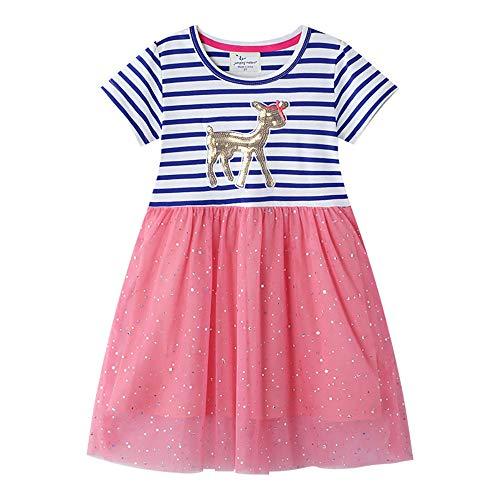 Mädchenkleider Modische Color Matching Gestreiftes Kleid Sommer-Mädchen Stechende Spitzen Prinzessin Kleid Hemd mit kurzen Ärmeln Kleid (Farbe : Blau, Size : 7 Years)