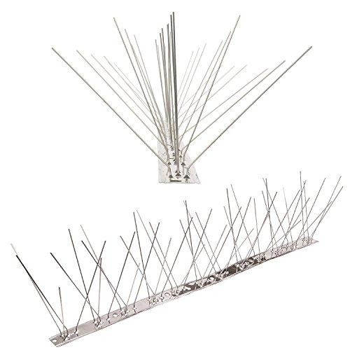 Pestsystems Vogelabwehrsystem, 1 Meter Taubenspikes 5-reihig auf V2A-Flexleiste - hochwertige Lösung für Vogelabwehr Taubenabwehr Edelstahl Spikes
