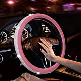 New Diamond Leather Steering Wheel Cover with Bling Bling Crystal Rhinestones, Universal Fit 15 Inch Car Wheel Protector for Women Girls (Pink)