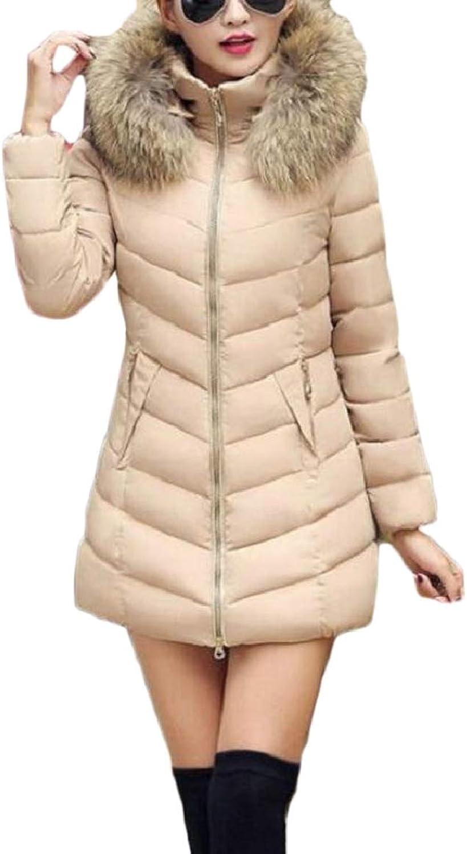 RGCA Women Winter Puffer Jacket Faux Fur Hood Slim Fit Thicken Coat