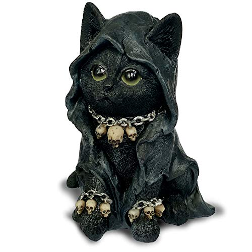 Objectz Gothic Katze mit Kapuze Kette und Totenköpfe - Reaper Cat Black - dunkle Dekofigur Skulptur Sensenmann schwarz mit Kapuze in 16 cm Höhe