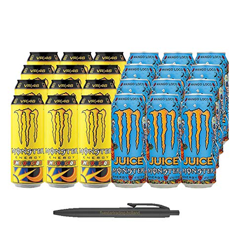 1x12 Monster Rossi The Doctor und 1x12 Mango Loco Juice (Insgesamt 24 Einweg-Dosen x 0,5 L) Inkl. Gratis FiveStar Kugelschreiber