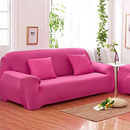 Sofás De 3 Plazas Covers 7 Colores Sólidos Estuche De Estiramiento Completo Tela Elástica Soft Sofá Funda Sofá Protector Muebles De Casa (Color : Rosa roja)