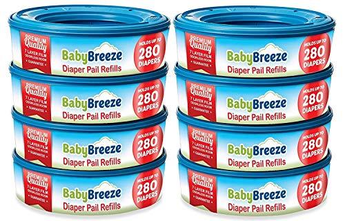 BabyBreeze Diaper Pail Refills Bags for Diaper Genie - 2240 Count (8-Pack)