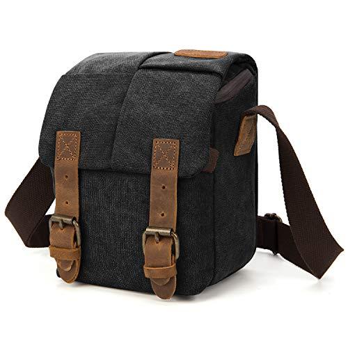 Amzbag Camera Bag DSLR Camera Messenger Bag Case With Shoulder Strap Carrying Shoulder Bag for Four Third, Hybrid, and High Zoom, Mirrorless Camera and Instax Instant Camera (Canvas Black)