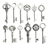 12pcs Antique Silver Huge Skeleton Key Craft Supplies Charms Pendants for Crafting, Jewelry Findings Making Accessory for DIY Necklace Bracelet (M102)