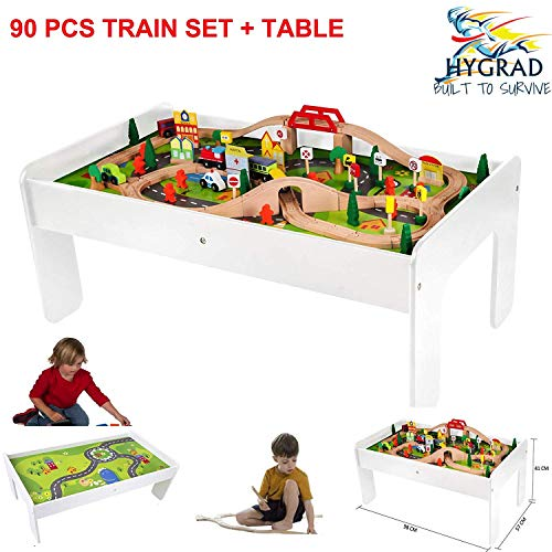 Kids Wooden Activity White Table and 90 Piece Train Set Car Track + Accessories For Xmas Birthday Gift HYGRAD