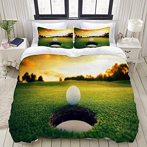 Luoquan Ropa de Cama - Funda nórdica Sunset Golf Course Microfibra Nuevo Set de Tres Piezas Funda de edredón 135 x 200 cm