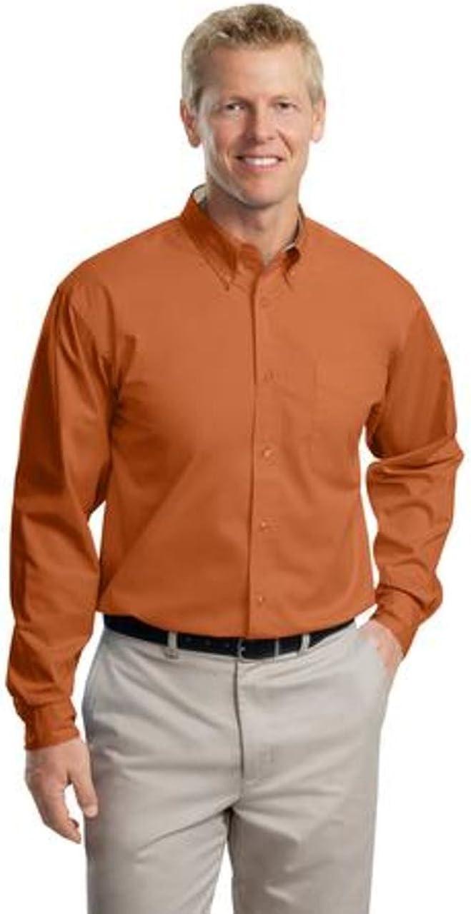 Port Authority Tall Long Sleeve Easy Care Shirt>4XLT Texas Orange