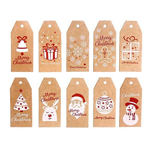 il lavoro fatto a mano Christmas Tree G2PLUS Christmas Gift Craft TAGS 100/pz da appendere Paper//Kraft tag con 30/meters perfetto per decorazione albero di Natale