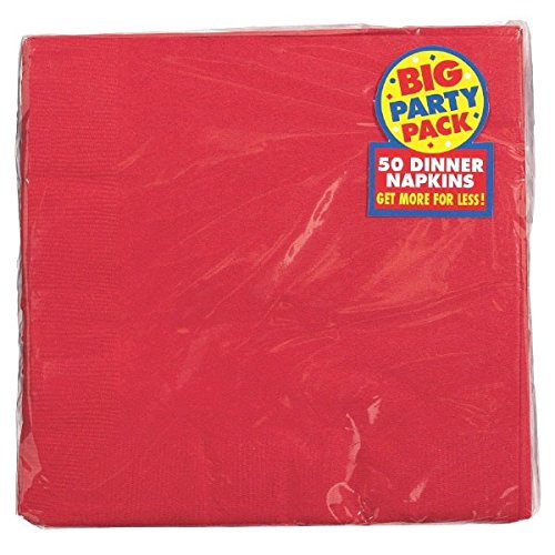 Apple Red 2-Ply Dinner Napkins Big Party Pack, 50 Ct.