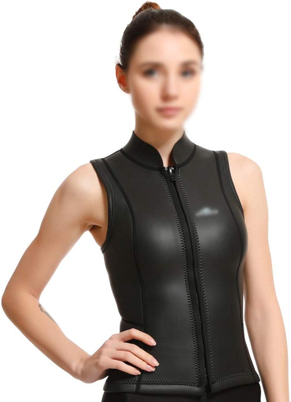 FELICIGG Female light gel CR diving suit surf clothing free diving light leather vest (color   Black, Size   L)