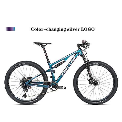 BIKERISK Bicicleta de montaña MTB de Fibra de Carbono de Cola Suave Bicicleta de montaña de Doble Choque Adecuado para XC/Am/DH, etc,7,29 * 19