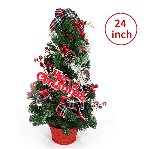 60cm Künstlicher Weihnachtsbaum, Unechter Tannenbaum mit Tannenzapfen, Rote Beeren, Glitzer Zierschmuck und Frohe Weihnachten Schild in einem Korb, für Home Party Dekoration Erste Feiertag Bescherung