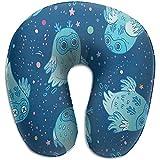 KDU Fashion Cojín En Forma De U,Patrón Sin Costuras De Lindos Búhos Fantasma En Azul Almohada En Forma De U Cuello Almohada De Viaje Espuma De Memoria Lavable para Decoración Interior Al Aire Libre