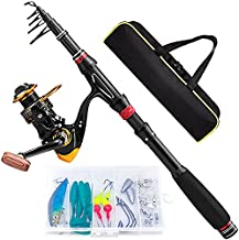 Castaroud Carbon Fiber Fishing Rod and Reel Combos, Portable Telescopic Fishing Pole with Spinning Reel, Travel Bag for Saltwater Freshwater Adults or Beginners