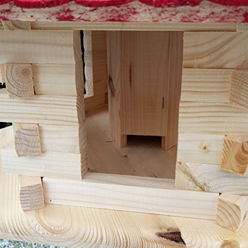 Sehr großes Vogelhaus Vogelhäuser Vogelfutterhaus Vogelhäuschen aus Holz Schreinerarbeit Gaube Rot XXL - 4