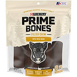 Purina Prime Bones Made in USA Facilities Natural Medium Dog Treats, Filled Chew with Wild Boar – 22.6 oz. Pouch