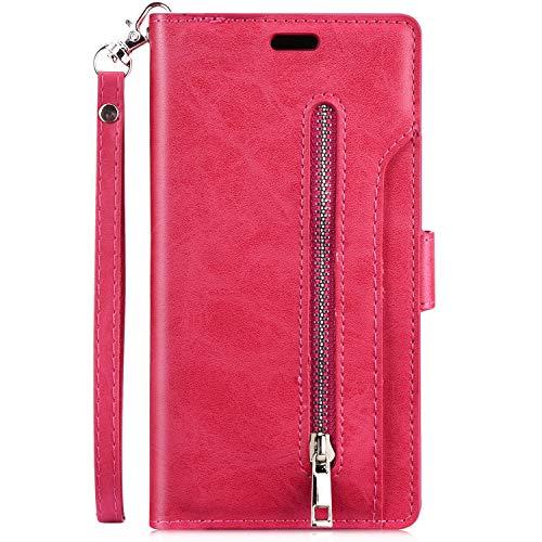 Jinghuash Premium Rits Flip lederen portemonnee hoesjes Cover voor telefoons
