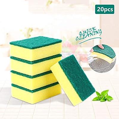 Heavy Duty Scrub Sponge, Household Kitchen Dish Washing Cleaning Sponge Pads,Heavy Duty Scrubbing Sponge Two-face,Long Time Multi-Use,10 Pcs