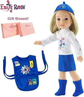 Emily Rose 14 Inch Doll Clothes for Wellie Wishers and Glitter Girls | Daisy Girl Scout 5 Piece Doll Outfit | Gift Boxed! | Fits 14