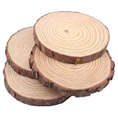 "LARGE SIZE: Each wood slice is approximately 5-6 inches diameter x 3/5"" thick. SET OF 4: Each order contains a set of 4 pieces. DIY CRAFTS: Ideal for display stands, weddings, wood burning, painted crafts, rustic centerpieces. KILN DRIED to sterilize..."