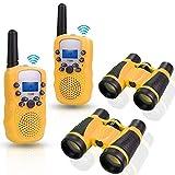 Anpro 2Stk Walkie Talkie Set mit 2Stk 5x30 Ferngläser, Kinder Funkgeräte 1-3KM Reichweite 8 Kanäle 2-Wege-Radio-Spielzeug mit Taschenlampe LCD Bildschirm Geschenk für Kinder, Gelb