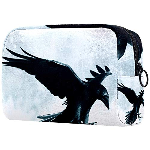 Travel Toiletry Bag for Men and Women 18.5x7.5x13cm Black Raven Cosmetic Organizer for Women Girls Kids Toiletry Wash Bag Portable