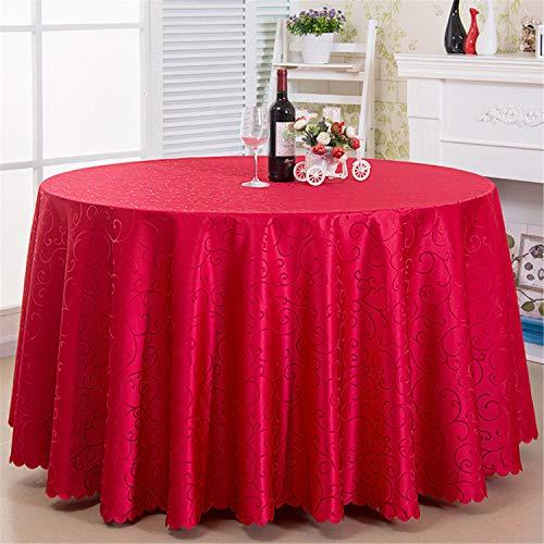 Mantel redondo, 100 % poliéster, circular, suave, lavable, para bodas, fiestas, restaurantes (rojo, 3,8 m)