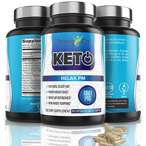 PowerCo Relax PM Deep Sleep Formula - Adult Sleep Aid & Keto Diet Pills in One - Promotes Deep REM Sleeping While Promoting Nighttime Ketosis - 90 Capsules 5