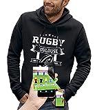 PIXEL EVOLUTION Sweat à Capuche 3D Rugby Toulouse en Réalité Augmentée Homme - Taille M - Noir