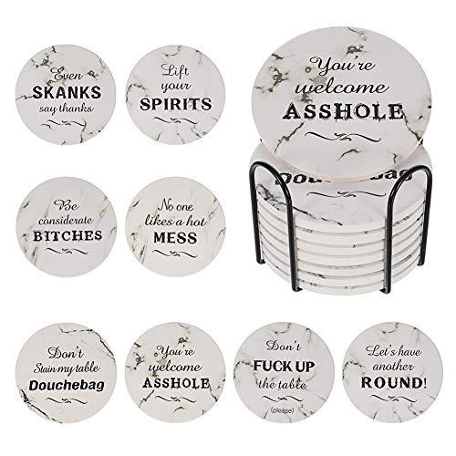 Miuse 8 posavasos de piedra absorbentes para bebidas, 4 pulgadas de mármol absorbentes de piedra con soporte, posavasos de cerámica para bebidas con base de corcho