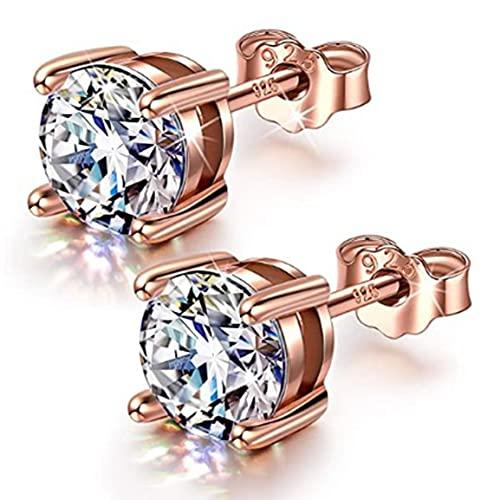 MEILUAIMU Pendientes de Plata de Ley para Mujeres y Hombres, circonita cúbica Redonda, Pendientes de Princesa de Diamantes simulados, Regalos de joyería