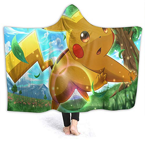 QIAOQIAOLO Pikachu - Manta de bebé con capucha para niños y adultos (60 x 50 pulgadas)
