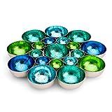 ZEYA Teelichthalter blau grün Aqua türkis | Deko Wohnzimmer | Kerzen Dekoration Windlicht | Perfekte Tischdeko Weihnachten | Metall