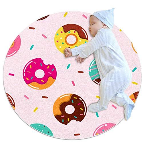 Alfombra Redonda Donut Gourmet Rosa Alfombra Redonda decoración Arte Antideslizante niños Lavables a máquin Suave Sala Estar Dormitorio de Juegos para 70x70cm
