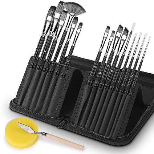 VIKEWE Professional Paint Brushes Set - 15 PCS Paint Brush with Oil Painting Knife and Sponge,...