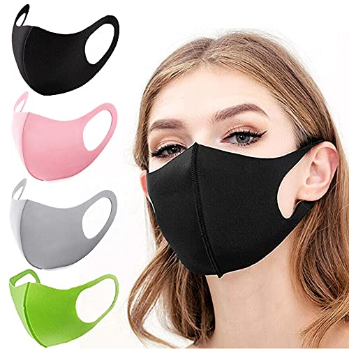 Reusable Washable Face Shield Cover, Face Dust Breathable for Unisex (Black/Gray/Pink/Green Each)