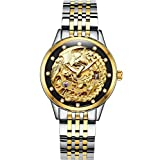 Gosasa Women's 'Phoenix Collection' Luxury Carved Dial Automatic Mechanical Waterproof Gold-Plated Watch (Black Silver)