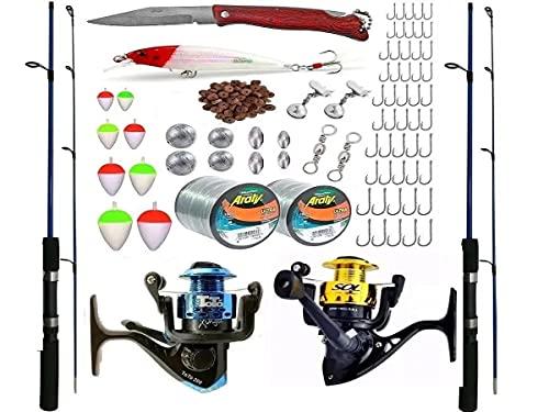Kit Pesca Completo 2 Vara 1,20m 10kg com Molinete e Acessorios