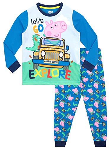 Peppa Pig Pijamas de Manga Larga para niños George Pig Azul 3-4 Años