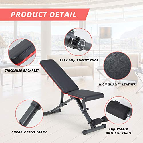 YOLENY Weight Bench,Adjustable Strength Training Benches for Full Body Workout,Folding Gym Bench with 15 Positions, for Home Gym