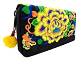 Embroidered Hippie Boho Hmong Wallet - Thai Handmade Hill Tribe Clutch Purse - for Credit Cards and Cash - Zip Around - Floral - Cotton - 8 Inch (Rose Midnight Honey Gold)