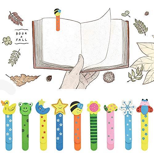 RMENOOR 40 Stücke Holz-Lesezeichen Tiere Lesezeichen Niedliche Buntelesezeichen Lustige Lese zeichen mit Lineal für Student Office Stationery (Zufällig)