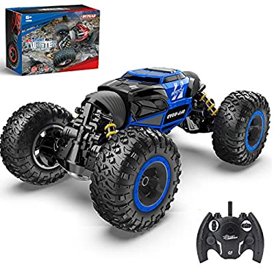 BEZGAR Toy Grade1:14 Scale Remote Control Crawler, 4WD Transform 15 Km/h All Terrains Electric Toy Stunt Cars RC Monster Vehicle Truck Car with Rechargeable Batteries for Boys Kids Teens and Adults?