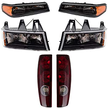 Brock Replacement 6 Pc Set Headlights Tail Lights & Park Signal Lamps Compatible with 2004-2012 Colorado Canyon Pickup Truck
