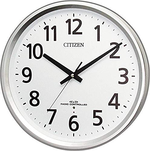 リズム(RHYTHM) CITIZEN シチズン 電波掛け時計 連続秒針 オフィス シルバー Φ32x5.2cm 8MY475-019